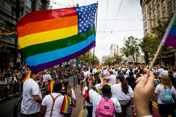 SAN FRANCISCO, CA- JUNE 28: A group of Apple employees march in the San Francisco Gay Pride Parade, June 28, 2015 in San Francisco, California. The 2015 pride parade comes two days after the U.S. Supreme Court's landmark decision to legalize same-sex marriage in all 50 states. (Photo by Max Whittaker/Getty Images)