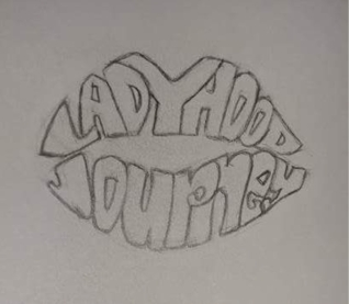 Second draft of LADYHOOD journey LOGO: Artist - Tasha Martin (after lip print)